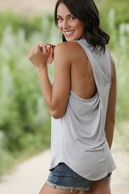 Sleeveless Top With Back Cross Details