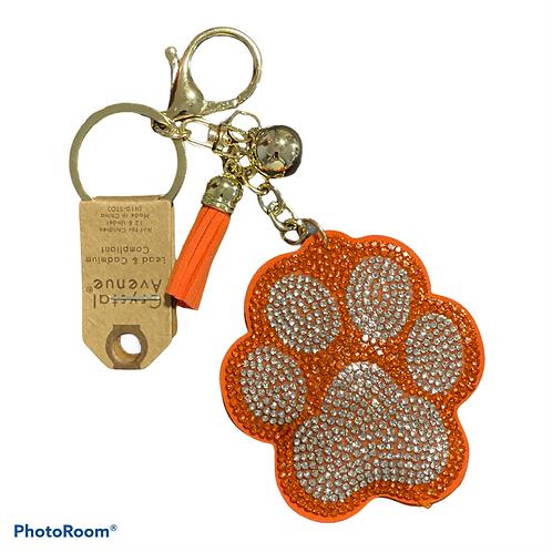 Orange tiger paw puffy rhinestone keychain