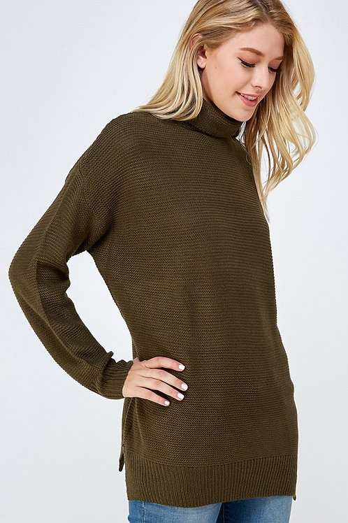 Olive Ribbed Knit Turtle Neck