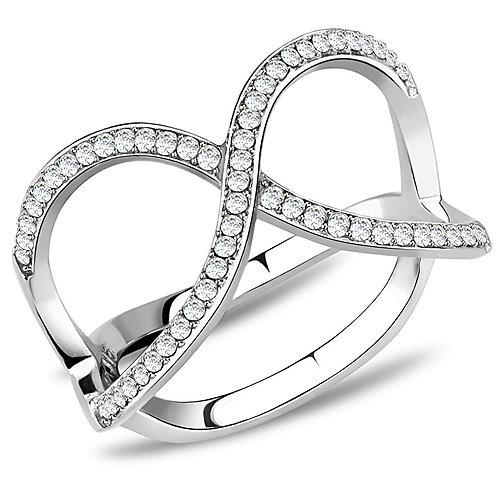 Women Stainless Steel Cubic Zirconia Rings DA058