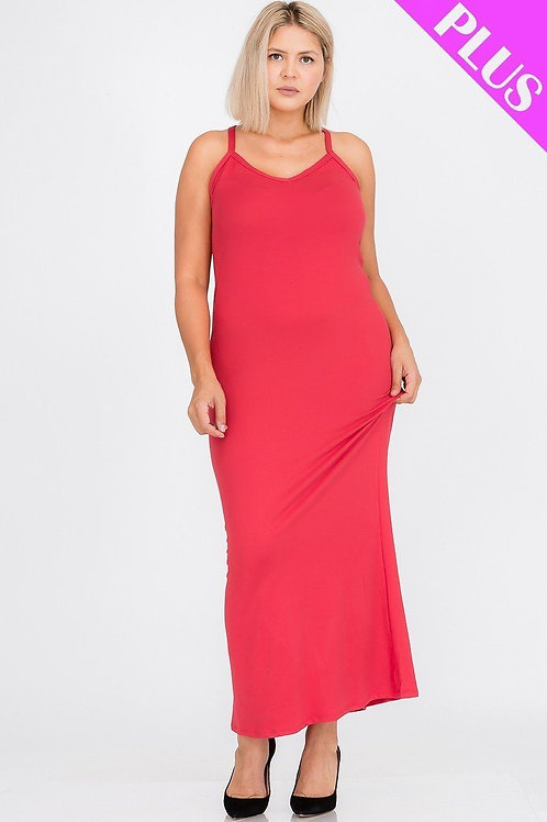 Plus Size Racer Back Solid Maxi Dress
