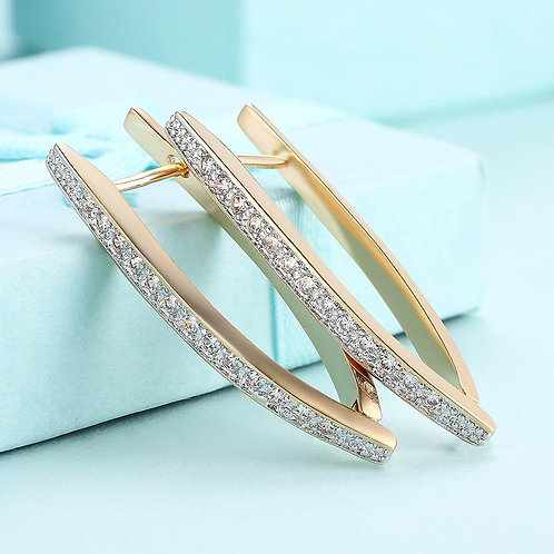 """1.4"""" Pave Thin Pave Hoop Earring   KZCE127"""