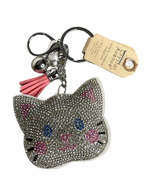 Cute kitty rhinestone puffy keychain