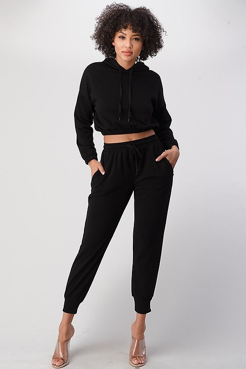 Comfortable long sleeve crop with sweats sets