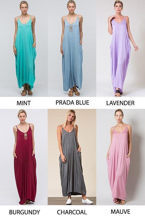 Light Mauve Maxi Dress with Pockets