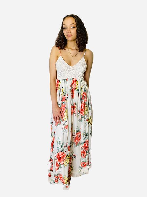 Floral Maxi Dress Open Back