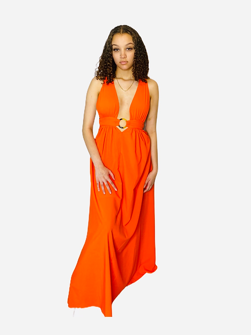 Bare Back Maxi Dress with O-ring Detail