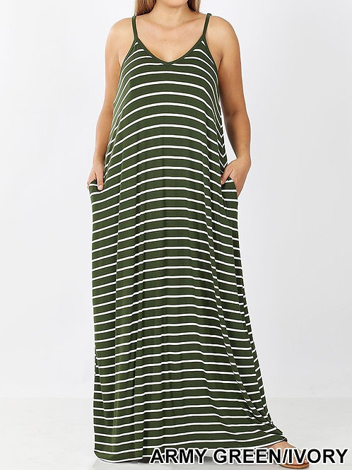 Plus Striped Cami Dress with Pockets