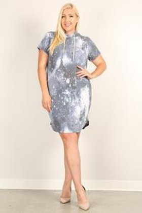 Plus Size Tie-dye Print Relaxed Fit Hoodie Mini Dress