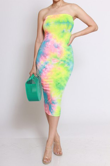 MULTI TIE DYE MIDI DRESS