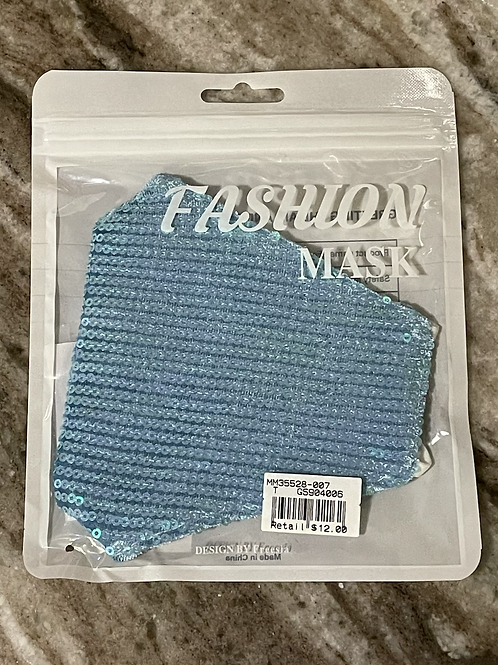 Teal Sequin Facemask