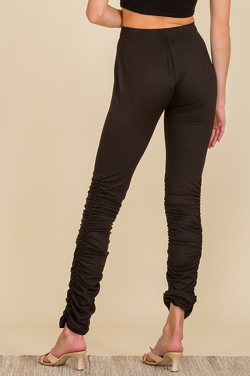 Ruched Pants High Waist Stacked Leggings
