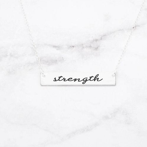 Strength - Sterling Silver Quote Bar Necklace