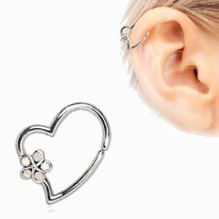 316L Stainless Steel Synthetic Opal Flower Heart Annealed Cartilage Earring