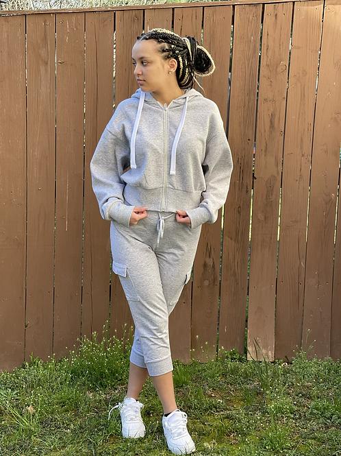 Gray Hoodie and Capri Fleece Set