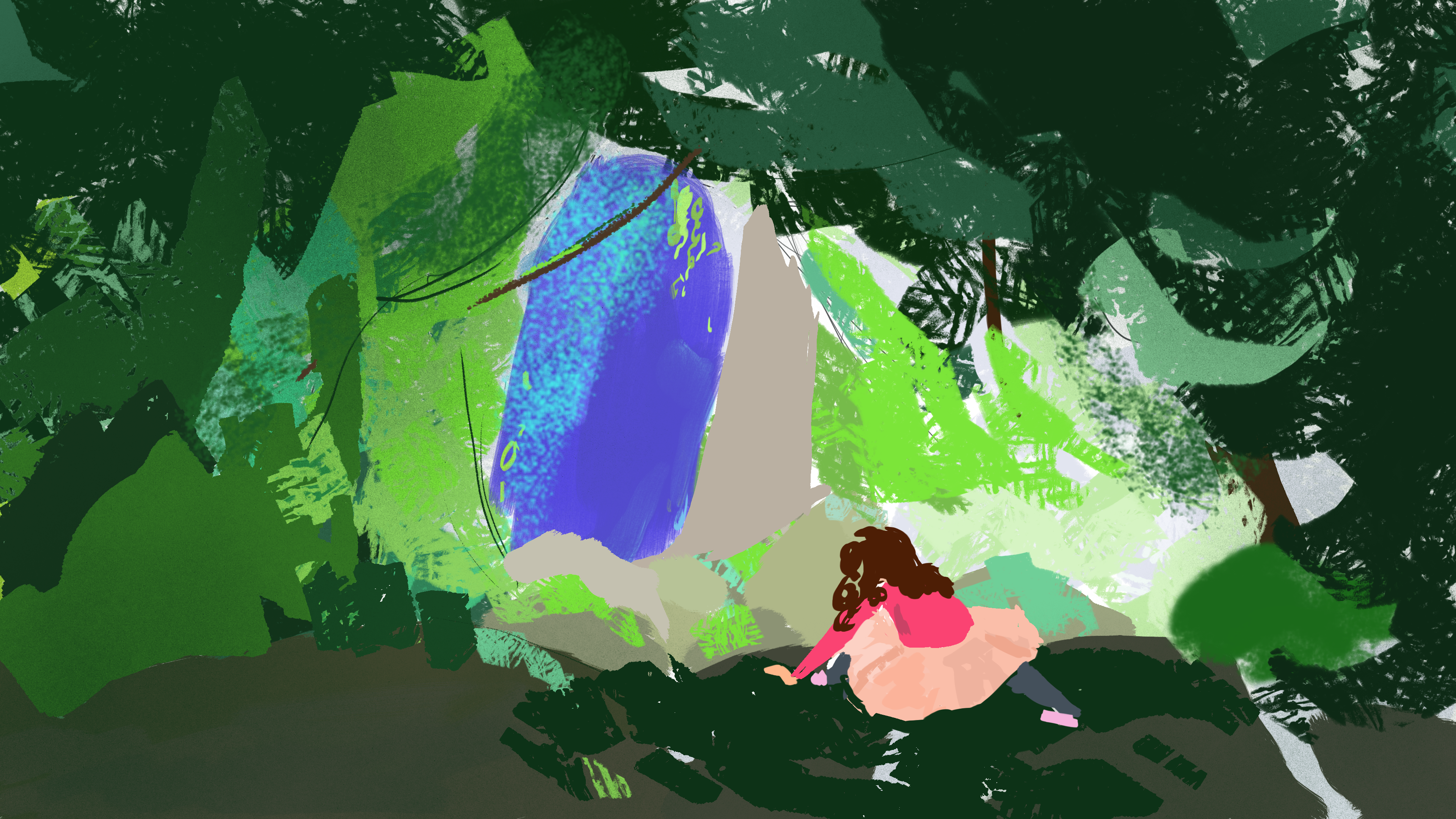 forest climb (color sketch)