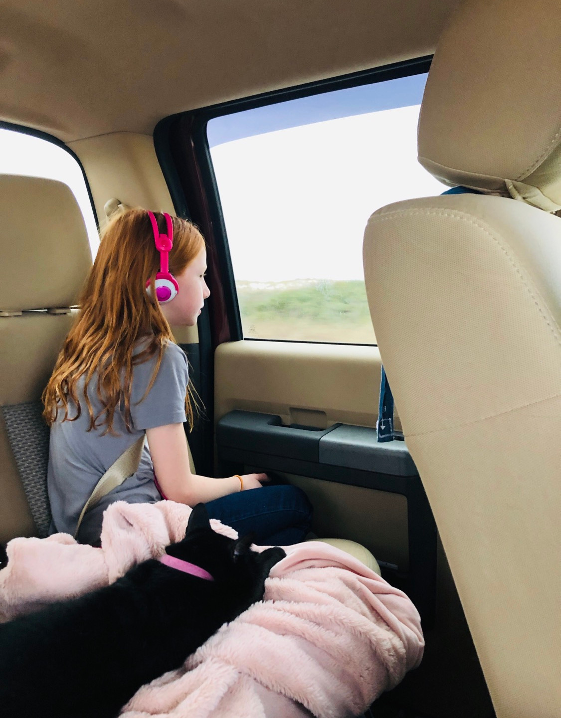 If Lila has done all her chores and schoolwork before we travel, she gets to listen to her own audiobook.  Trouble (the cat) gets to do whatever he wants no matter what 😣
