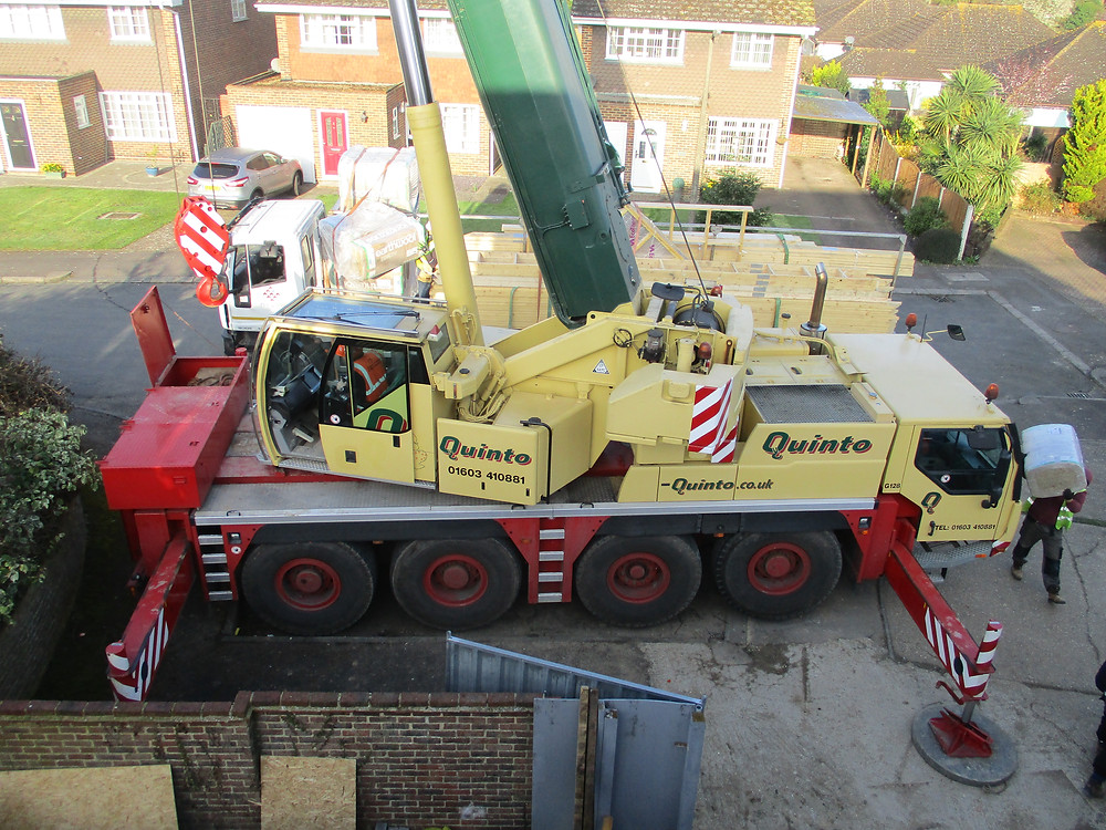 70 Tonne Crane with Lorry carrying timber