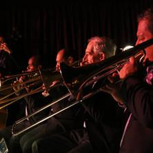 David Wong (bass) & the trombone section at the Village Vanguard, September 2016