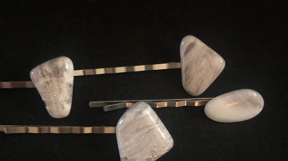 Hair Pins, Petrified Wood