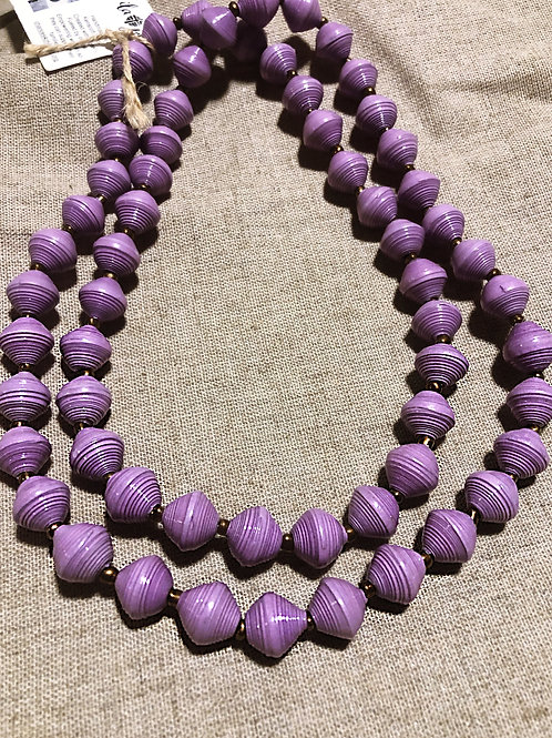 Purple Large Paper Bead Necklace