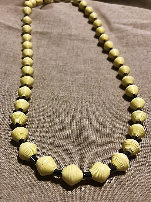 Yellow Large Paper Bead Necklace