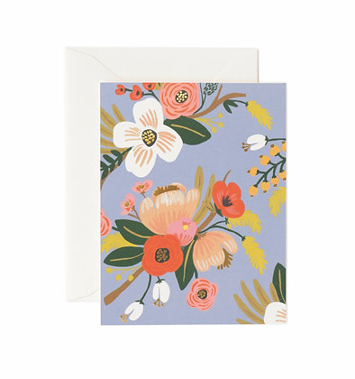 CARD-LIVELY FLORAL PERIWINKLE