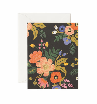 CARD-LIVELY FLORAL BLACK