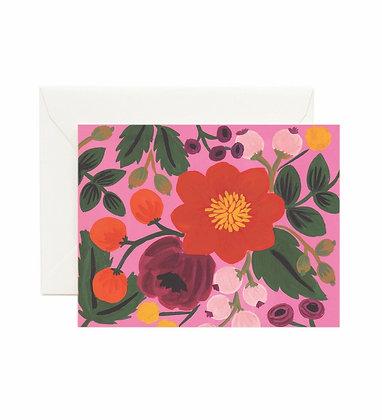 CARD-VINTAGE BLOSSOMS ROSE