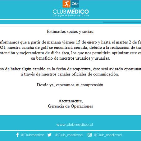 Comunica Cierre Temporal Cancha Club Médico