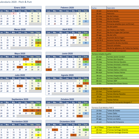 Calendario Torneos  2020