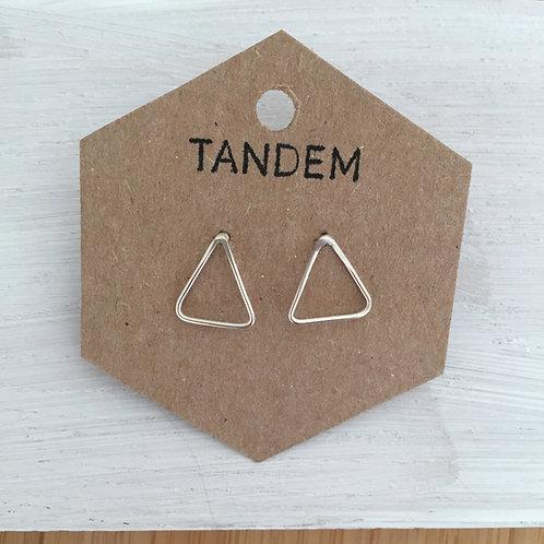 Silver triangle studs