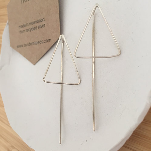 Silver large triangle threader earrings