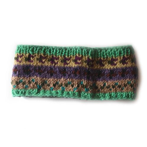 Green nordic knit wool headband