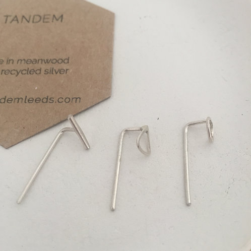 Silver mini mix match trio threader earrings
