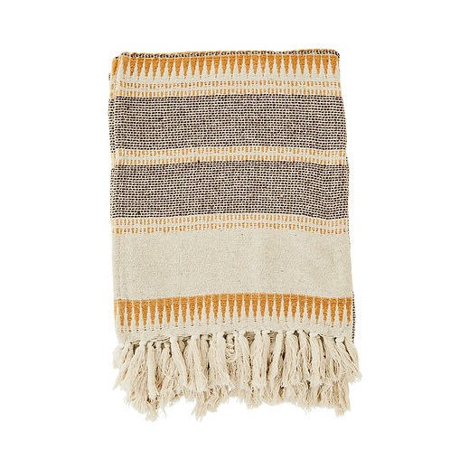 Woven striped throw with fringes