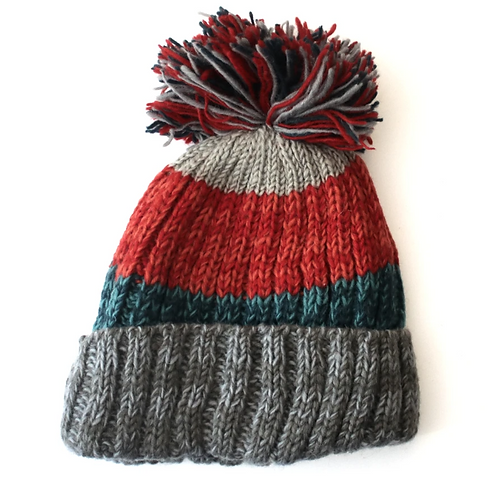 Chunky striped wool bobble hat