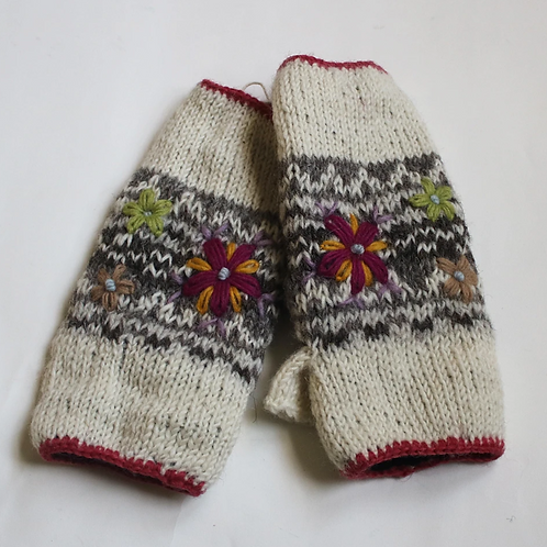Cream flower embroidered knitted wool wrist warmers