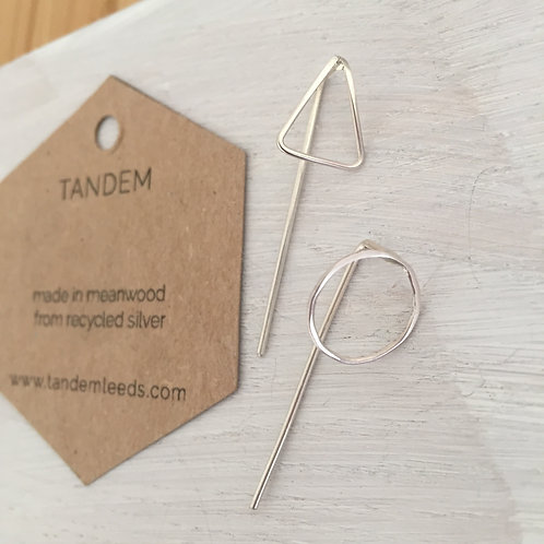 Silver mix match circle / triangle threader earrings