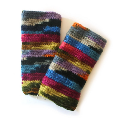 Tie-dye knitted wool wrist warmers