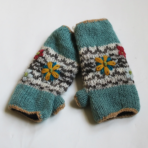 Blue flower embroidered knitted wool wrist warmers
