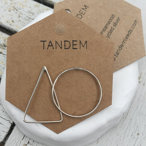 Silver triangle and circle earrings