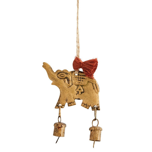 Hanging brass elephant with bells