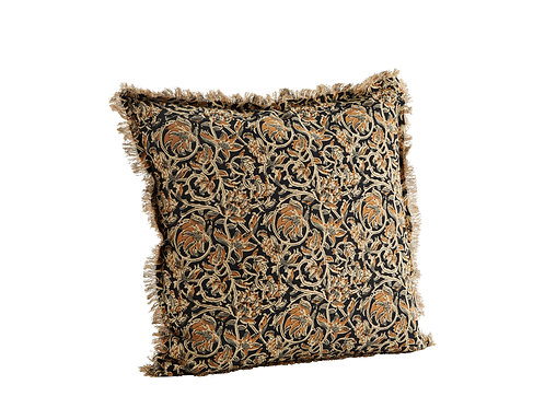 Printed cushion cover with fringes (mustard)