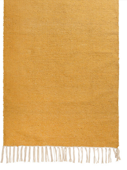 Mustard yellow cotton rug 100% recycled