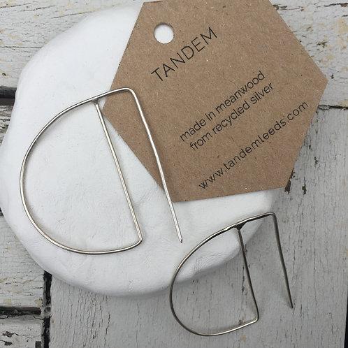 Silver half hoop threader earrings