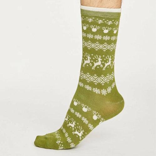 Reindeer Christmas socks green