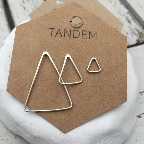 Silver trio of triangles studs