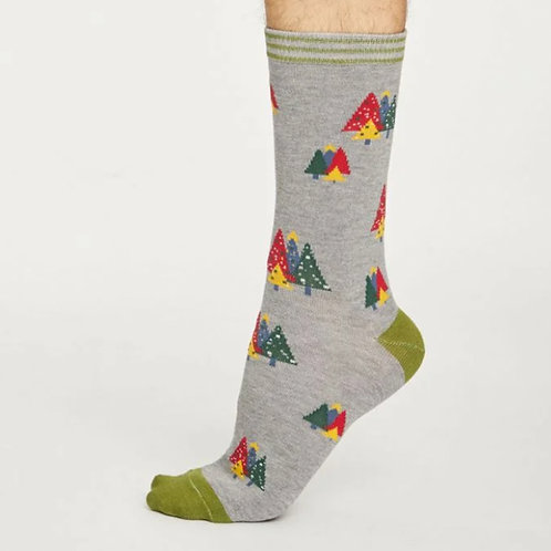 Grey Christmas tree socks