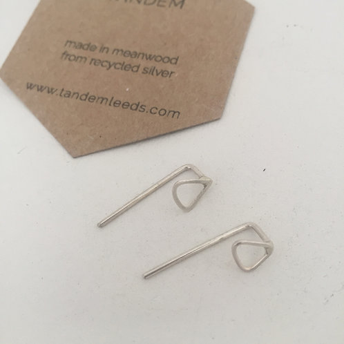 Silver mini triangle threader earrings